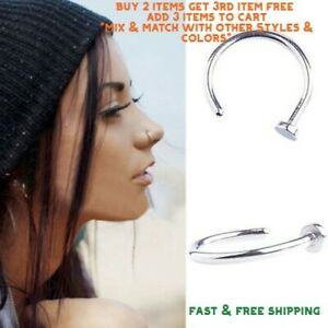 Surgical-Stainless-Steel-Plain-Silver-Open-Nose-Ring-Hoop-8mm-22-Gauge