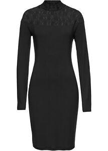 Kleid Abendkleid 32 34 schwarz Jerseykleid langarm Spitze ...