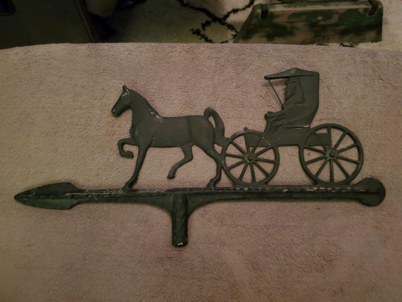 Vintage Cast Aluminum Horse & Buggy Carriage Weathervane Arrow