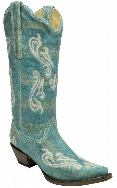 Corral Ladies Snip Toe Cowboy Western Boots Turquoise bluee Cortez Cleff R1973