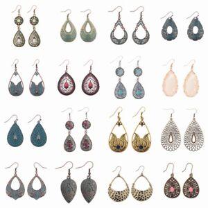 Vintage-Crystal-Bronze-Silver-Gold-WaterDrop-Dangle-Women-Fashion-Ethnic-Earring