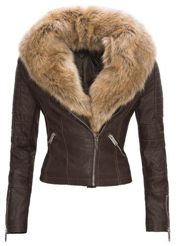 Femmes Cuir synthétique veste transition Art Cuir Biker Jacket FAUX FUR s-xl d49 NEUF