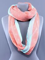 Coral Anchor Print Scarf Nautical Loop Circle Infinity