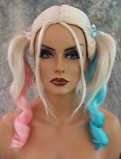 HARLEY QUINN COSTUME WIG HALLOWEEN PARTIES FANTASY *CLR PINK BLUE US SELL  1048