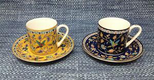 2-Lot-Silk-Road-Takahashi-Demitasse-Cups-Saucers-Sets-Bird-Floral-EUC