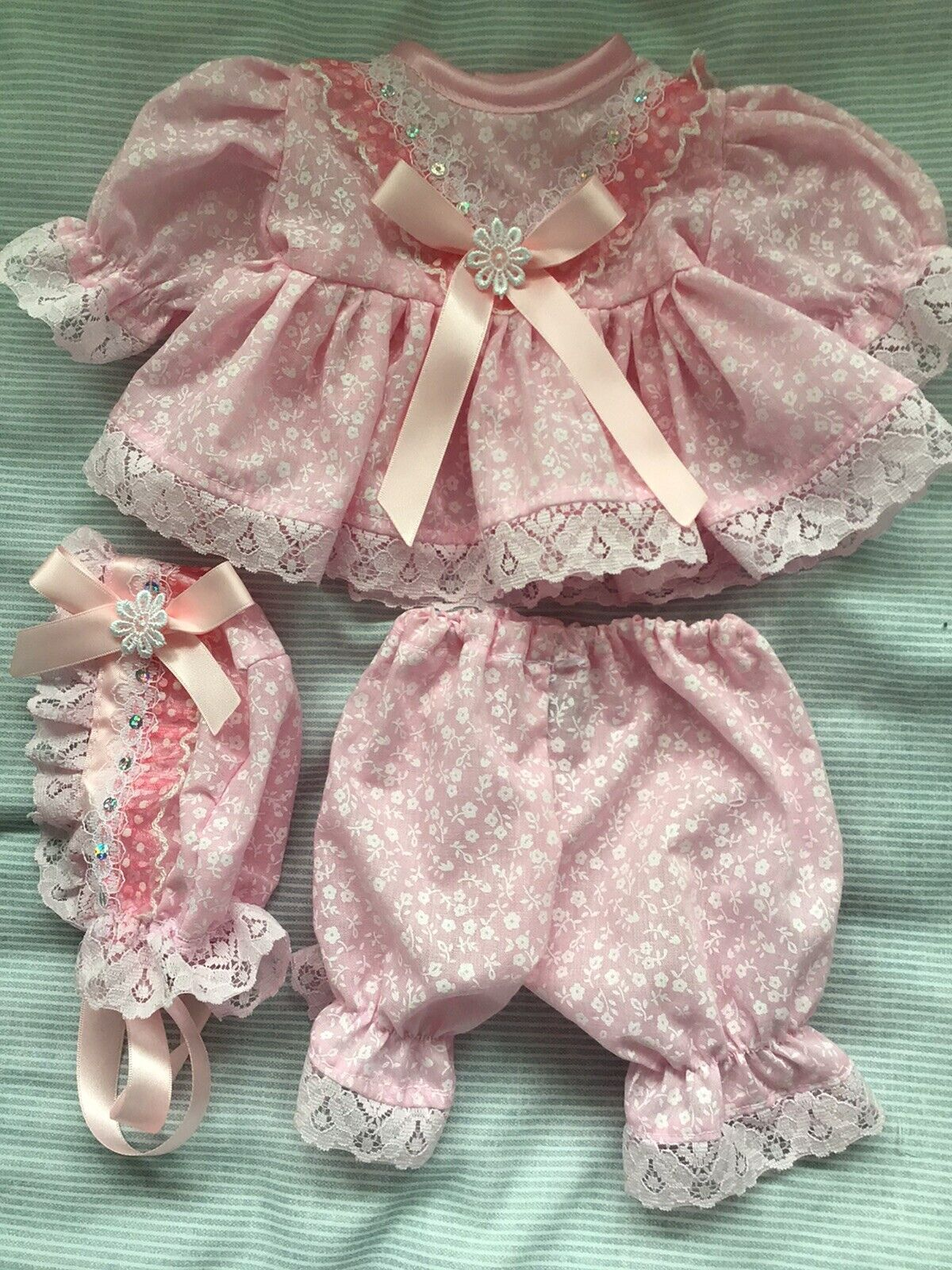 Handmade Dress,Hat & Pants set- to fit a14in Berenguer Lots to love/Chubby Doll