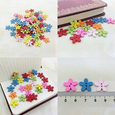 100Pcs Bulk Cute Flowers Baby Wooden Sewing Buttons Scrapbooking 2 Holes