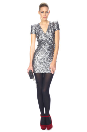 French Iconic Party Cocktail Sequin Dress Samantha 10 Connection Silver 5wwqRU6