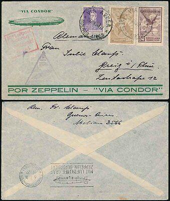 Triangular Duplex Handstamps Frugal Zeppelin 1934 Argentina Condor Flight...boxed
