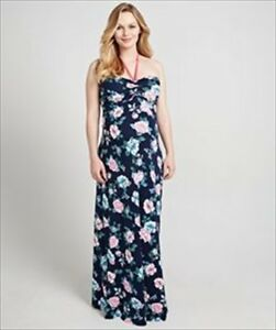 e1231ad4b9656 Mothercare Blooming Marvellous Maternity Printed Rose Maxi Halterneck Dress  14