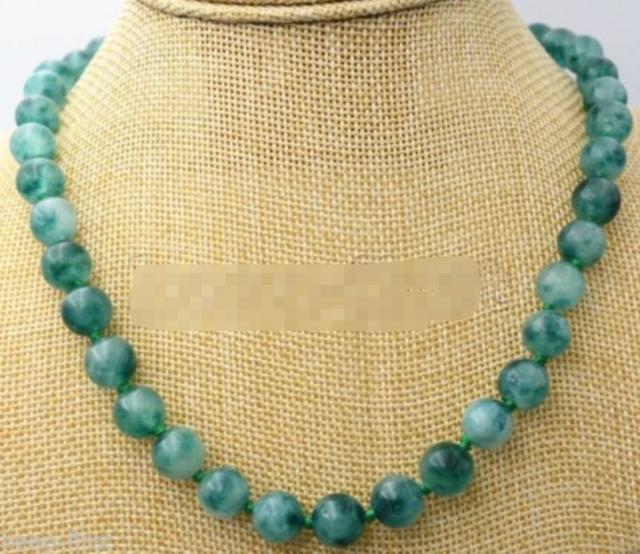 Handmade 8mm Natural Green Jade Round Gemstone Beads Necklace 51/'/' AAA