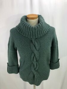 Talbots-Women-039-s-Sweater-Size-Petite-P-Moss-Green-Wool-Alpaca-Blend