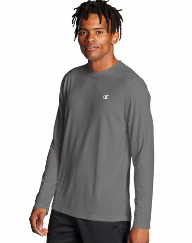 Champion T-Shirt Long-Sleeve Tee Men Double Dry Core Wicking Plain Athletic Fit