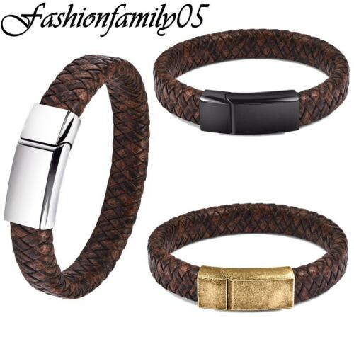 Fashion Men/'s Brown Braided Leather Bracelet Stainless Steel Slide Clasp Bangles