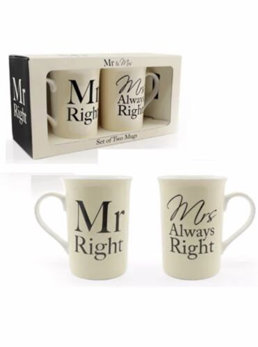 SET OF 2 MR MRS ALWAYS RIGHT MUGS COFFEE TEA CUP GIFT SET BOX MUM DAD PRESENT