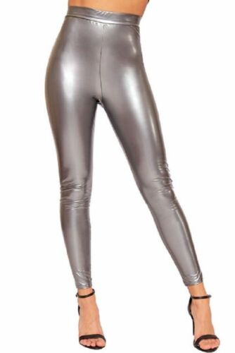 Womens Ladies Soft Strethcy Shiny Wet Look Vinyl Leggings Trouser Pants Bottoms