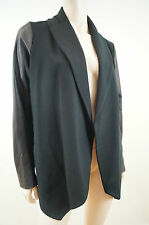 THEORY Women's Black Blazer Jacket With Faux Leather Sleeves Sz: L BNWT