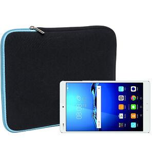 Slabo-Tasche-fuer-Huawei-MediaPad-M3-21-33-cm-8-4-Zoll-Neopren-TURKIS-SCHWARZ