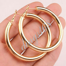 """18K Yellow Gold Filled 51mm/2"""" High Polished Smooth Hoop Earrings Jewelry H792G"""