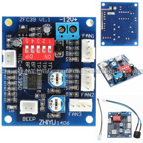 12V PWM PC CPU Fan Temperature Speed Controller Module High Temp Alarm 5V Buzzer