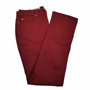 New-Womens-Charter-Club-Lexington-Straight-Leg-Slimming-Jeans-Size-10-Maroon-Red