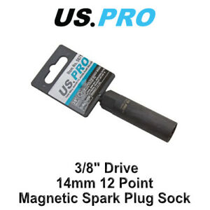 US-PRO-3-8-034-Drive-14-mm-12-punto-de-pared-delgada-magnetica-Spark-Plug-Socket-5871