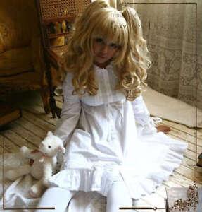 Sleepy-Lolita-BabyDoll-Empire-Waist-Button-Down-Cotton-Dress-Sleepwear-White