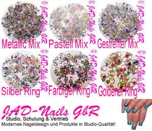100-Nagel-Piercings-Nagelpiercing-Pastell-Metallic-Gestreift-Silber-Gold-Nails