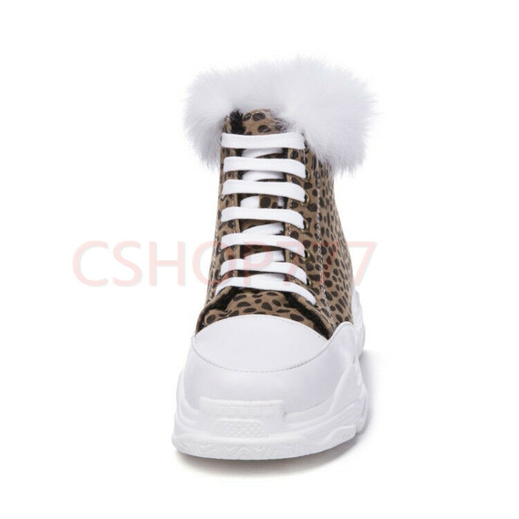 Ladies winter lace up ankle short Boots furry trim Casual leapord outdoor shoes