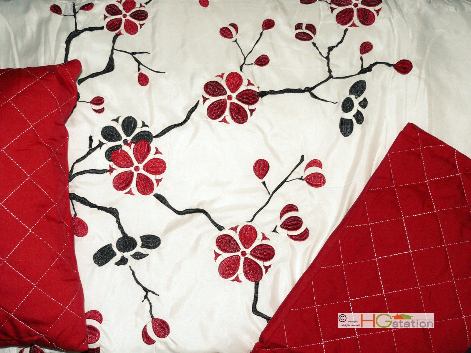 7P Quilted Peach Plum Blossom Tree Embroidery Comforter Set Red Off-White Sakura