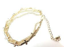 LADIES CHUNKY MULTI LAYER GOLDEN CROSS BRACELET UNIQUE (CL5)