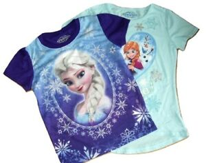 2-Pack-T-Shirt-Top-Disney-Frozen-Elsa-amp-Anna-Olaf-Age-5-6-amp-7-Yrs-Blue-Purple
