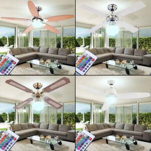 LED-Decken-Ventilator-RGB-Lampe-FERNBEDIENUNG-Luefter-Kuehler-Wohn-Zimmer-dimmbar