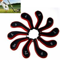10pcs Golf Club Iron Headcovers Head Cover Protect Case Set Red Neoprene Black
