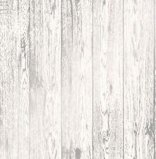Legno Bianco Carta da parati Attico Pannello with Silver Shabby Chic Design