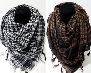 Brown Arab Shemagh Keffiyeh Palestine Scarf Shawl Kafiya Wrap Unisex New Style