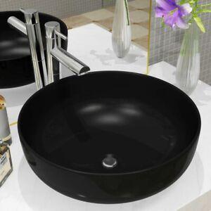 Détails sur vidaXL Lavabo Rond Céramique Noir 41,5x13,5 cm Vasque Salle de  Bain Toilette