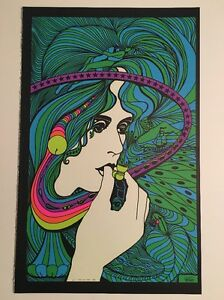 Blacklight Poster Pin-up Print Acid Queen & Man Woman I Double Sided