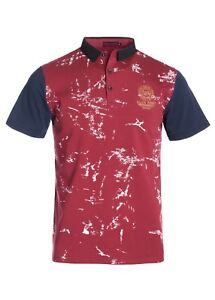 New-Mens-Short-Sleeve-Polo-Shirt-Slim-Fit-Red-Navy-Collar-Sleeves-White-Cotton