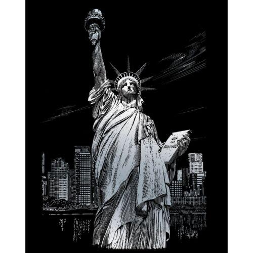 Scraper Kratzbild  Freiheitsstatue Amerika Silber Größe 20 cm x 25cm Komplettset