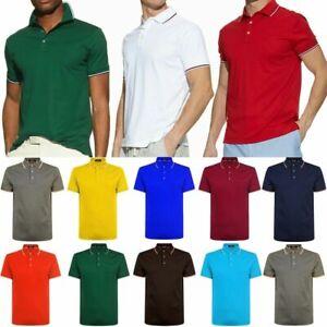 Men-039-s-Polo-Shirt-Golf-Sports-Cotton-T-Shirt-Jersey-Casual-Striped-Short-Sleeve