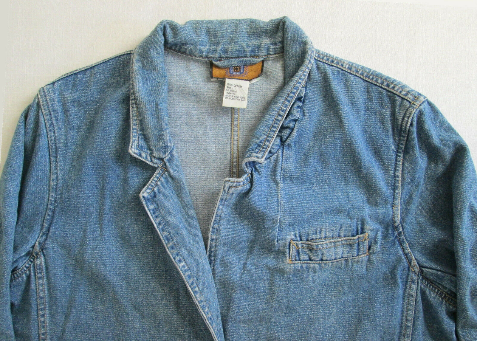 Baccini Womens Blue Denim Jacket Size L 100% Cotton Used Washed and Faded vtg