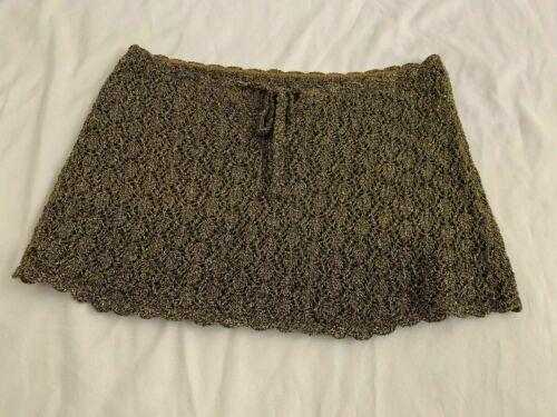 Rebecca Virtue Womens Brown Gold Metallic Crochet