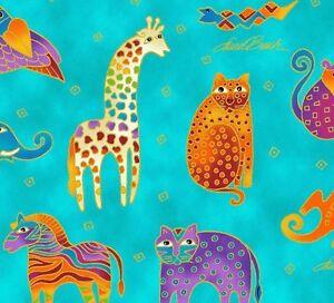 Mythical-Jungle-Animal-Toile-Y2137-34M-DARK-Aqua-Blue-w-Met-by-Laurel-Burch-BTY