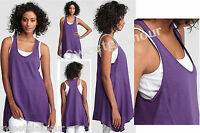 $158 Eileen Fisher African Violet U-neck Racerback Dipped Hem Tunic Tank Top M