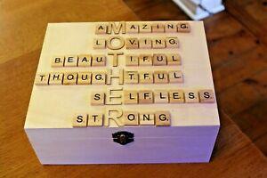 Mothers Day Gift Wooden Box Wood Keepsake memory box birthday MOTHER mummy mum