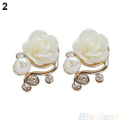 Korean Style OL Rose Flower Shiny Crystal Rhinestone Pearl Stud Earrings BE9U
