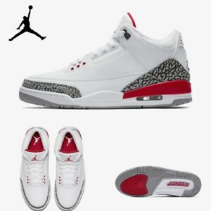 Air Jordan 3 Retro Men Women Basketball Shoes Sz 6-13 White Red ... c9d5e5ef7
