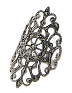 Victorian Trading Co Sz 9 Marcasite /& Cameo Sterling Silver Ring