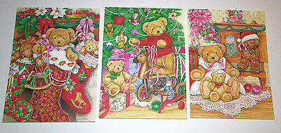 Vtg Current Christmas Cards Nostalgic Teddies n Stockings ...